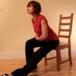 Hamstring stertches on chair while doing one leg stretch.