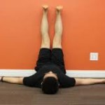 Hamstring stretches with the feet resting against wall are easy and relaxing to do.