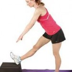 Standing hamstring stretches for one leg using a low object as a foor rest.