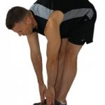 Hamstring stretches done while standing, only requires to bend over to touch toes.  Keep knees slight bent to avoid back stress.